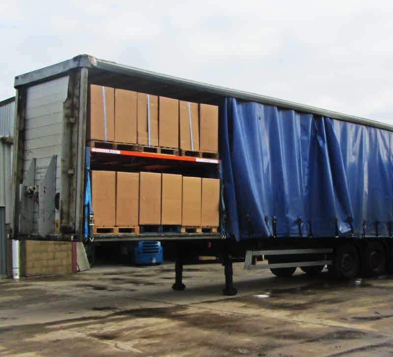 lorry Trailer rack showing double deck pallet rack